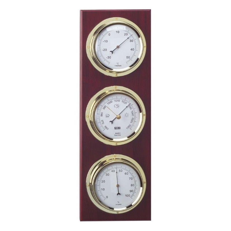 Brass Barometer Thermometer Antique Weather Station Wood Hygrometer
